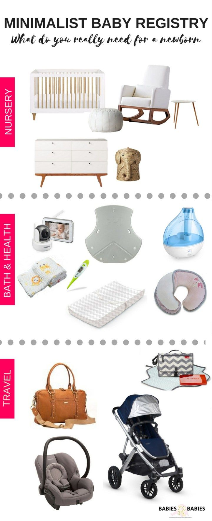 Minimalist Baby Registry.What do you REALLY need for a newborn?This well edited list of must-have is for the perfect list for parents who live a minimalist lifestyle.