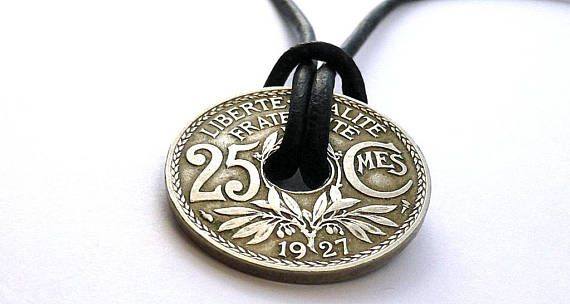 French necklace Leather necklace Coin jewelry Coin