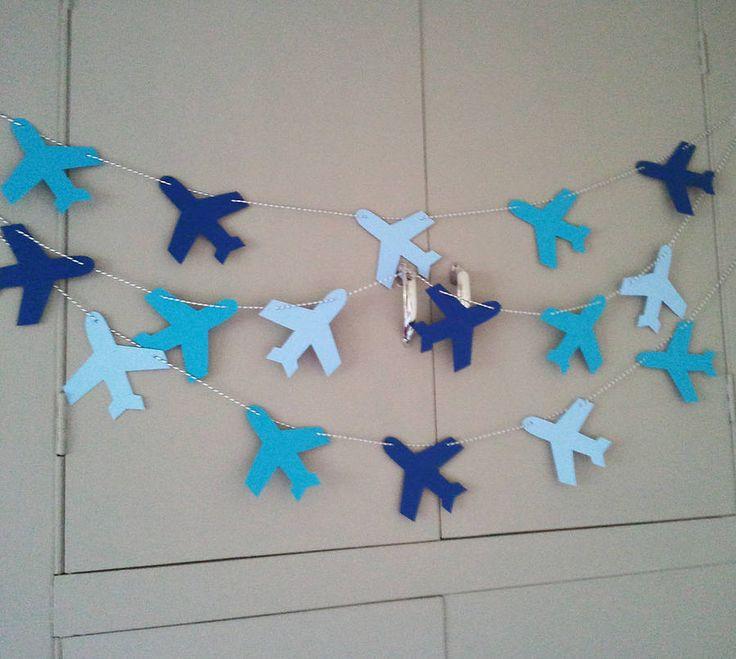 Slinger verjaardag vliegtuig birthday banner garland airplane #diy