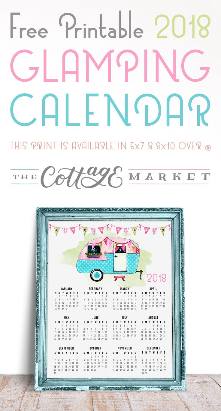 This Free Printable 2018 Glamping Calendar is perfect for all of you that have a touch of Wanderlust in your heart! Hope you have a Glamping Adventure soon!