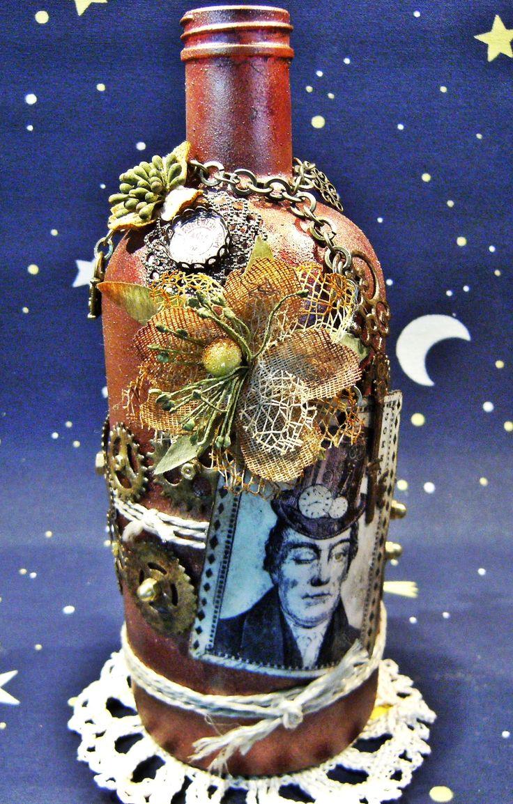 Steampunk Kerzenständer-Deko-Flasche