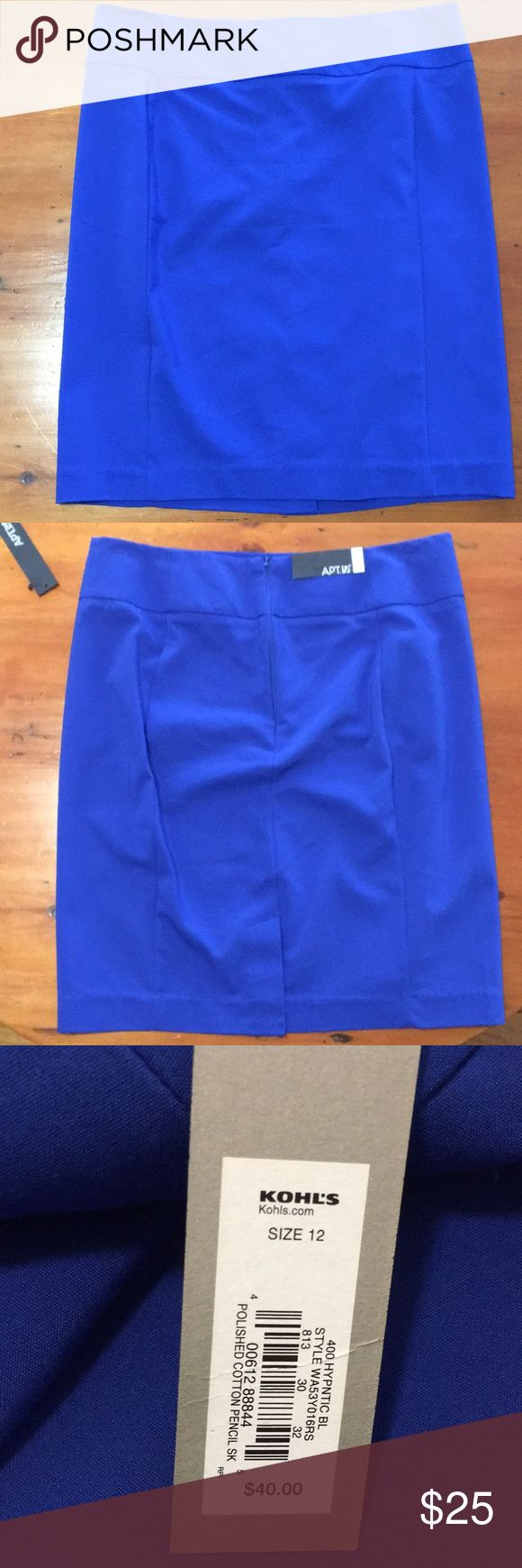 Blue pencil skirt Royal blue pencil skirt size 12. Fits true to size and hits right at the knee. Has a discrete back zipper. Never been worn!! Apt. 9 Skirts Pencil