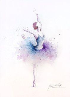 Ballerina Kunstdruck, lila blau Tutu, Ballerina Artwork, Original Ballerina Aquarell, Original Ballerina Gemälde, Ballerina Wandkunst