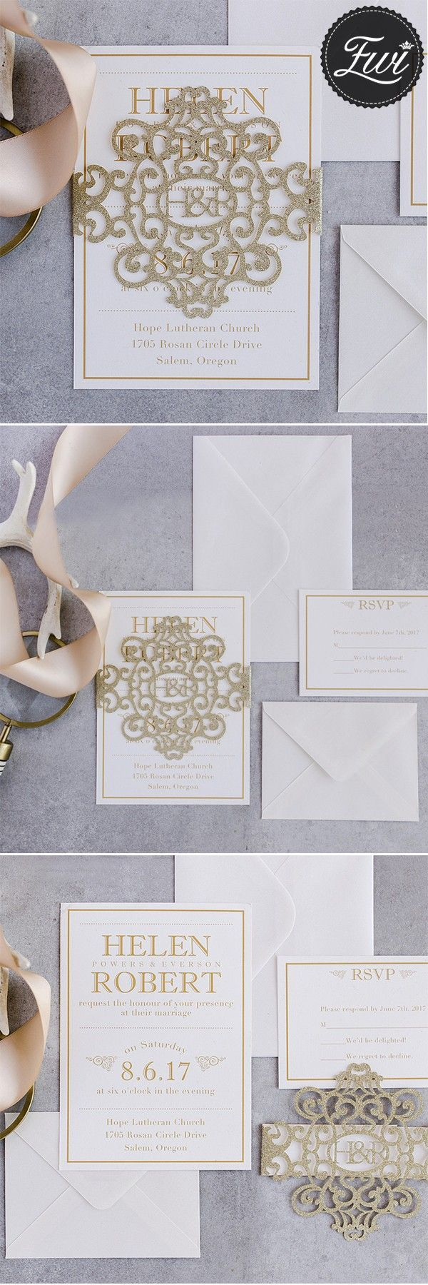 casual evening wedding invitation wording%0A modern gold glitter monogram laser cut belly band wedding invitations  EWBLG     weddinginvitations  elegantweddinginvites