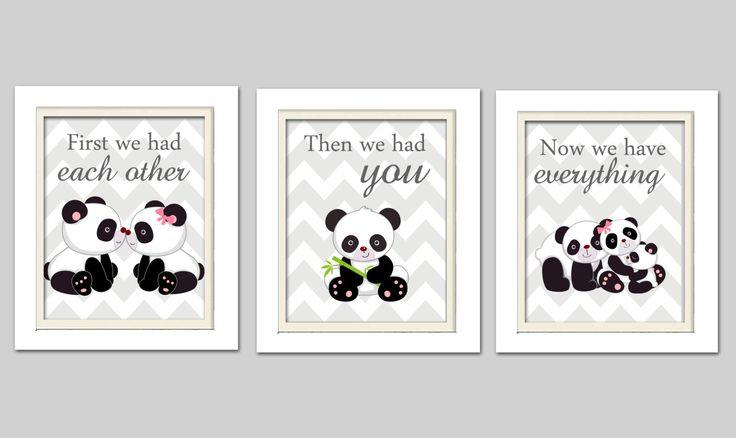 Nursery Art Trio Panda Nursery Prints Pink and Grey by ChicWallArt, $35.00