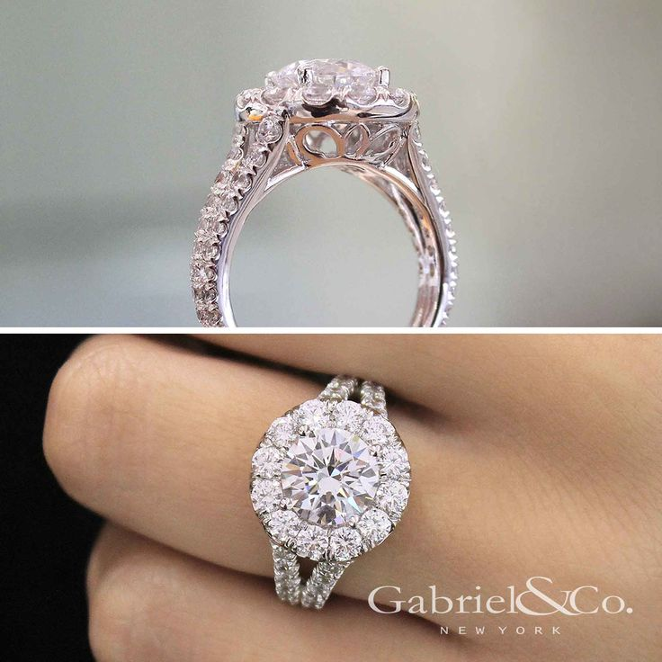 Gabriel & Co. - Voted #1 Most Preferred Bridal Brand. An elegant 18k White Gold Round Cut Halo Engagement Ring.