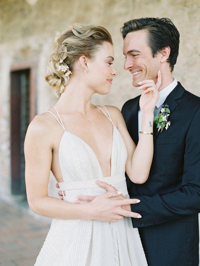 Modern strappy wedding dress: http://www.stylemepretty.com/2016/03/25/whimsical-botanical-franciscan-gardens-wedding-inspiration/ | Photography: Valentina Glidden - http://blog.valentinaglidden.com/