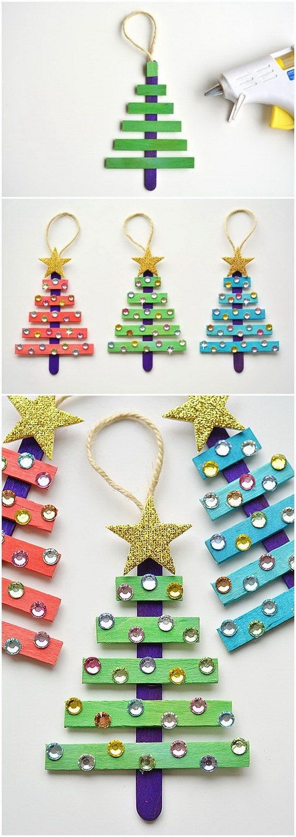 Glittering Popsicle Stick Christmas Trees. Get some packs of coloured popsicle sticks from the craft store or just paint them by yourself, arrange them in the shape of the Christmas tree and decorate with colorful rhinestones and a glittery star. These new ones look so amazing and sparkling when hang on your Christmas tree.