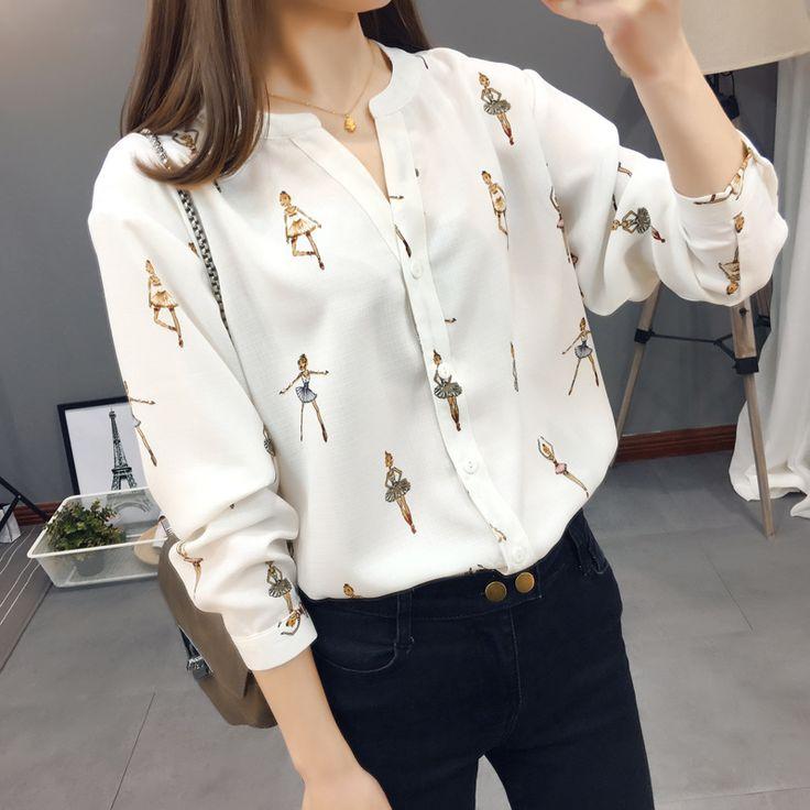 Hot Sale 2017 Summer Women Chiffon Cartoon For Print Shirt Elegant Sexy V-Neck Long Sleeve Shirts Female Office Shirt Plus Size