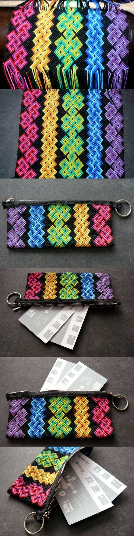 Macrame :: Friendship bracelet coin purse. Love the idea of weaving wider things than bracelets with this technique...