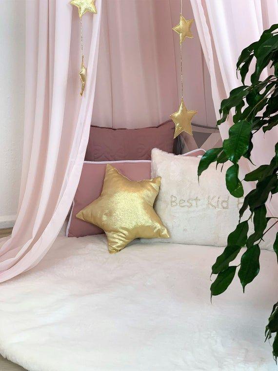 Auvent en crêpe rose Tente suspendue rose tente de lecture Tente de coin | Etsy