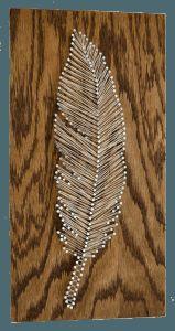 string art-cream-brown-feather