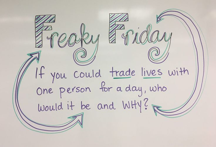 Freaky Friday whiteboard journal prompt