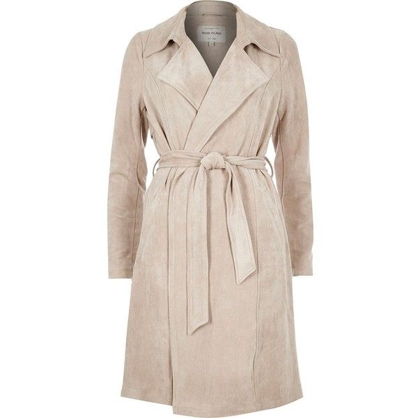 River Island Stone faux suede trench coat (3.590 RUB) ❤ liked on Polyvore featuring outerwear, coats, sale, trench coat, river island, pink coat, tall coats and pink trench coat