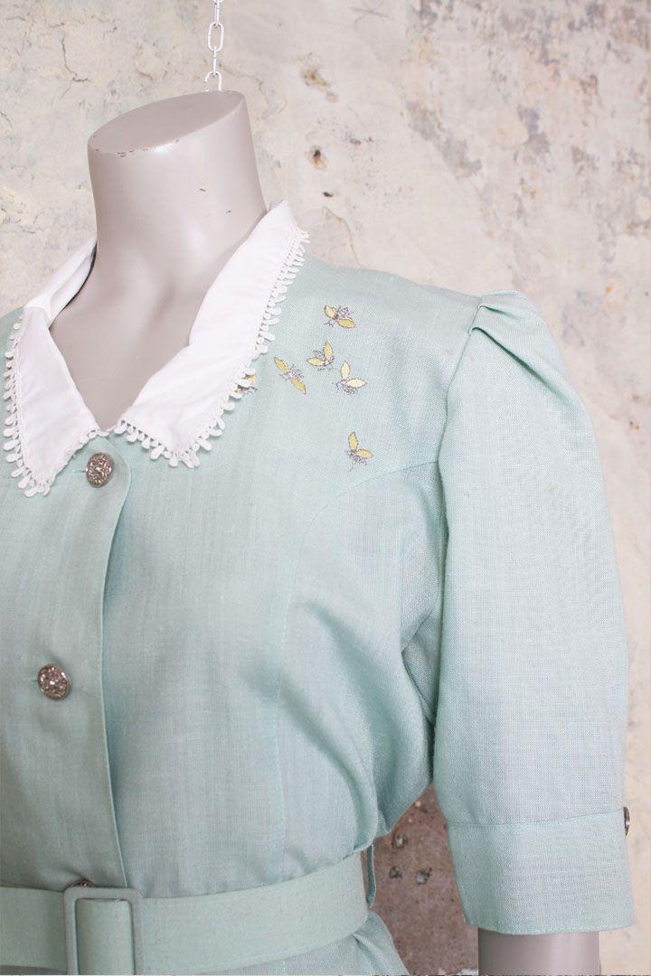 Vintage eighties mintgroene jurk met wit kraagje - Froufrou's