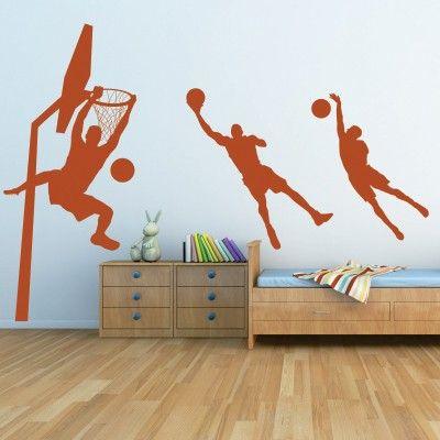 """Adesivo Murale - Basket.  Adesivo murale di alta qualità con pellicola opaca di facile installazione. Lo sticker si può applicare su qualsiasi superficie liscia: muro, vetro, legno e plastica.  L'adesivo murale """"Basket"""" è ideale per decorare la cameretta. Adesivi Murali."""