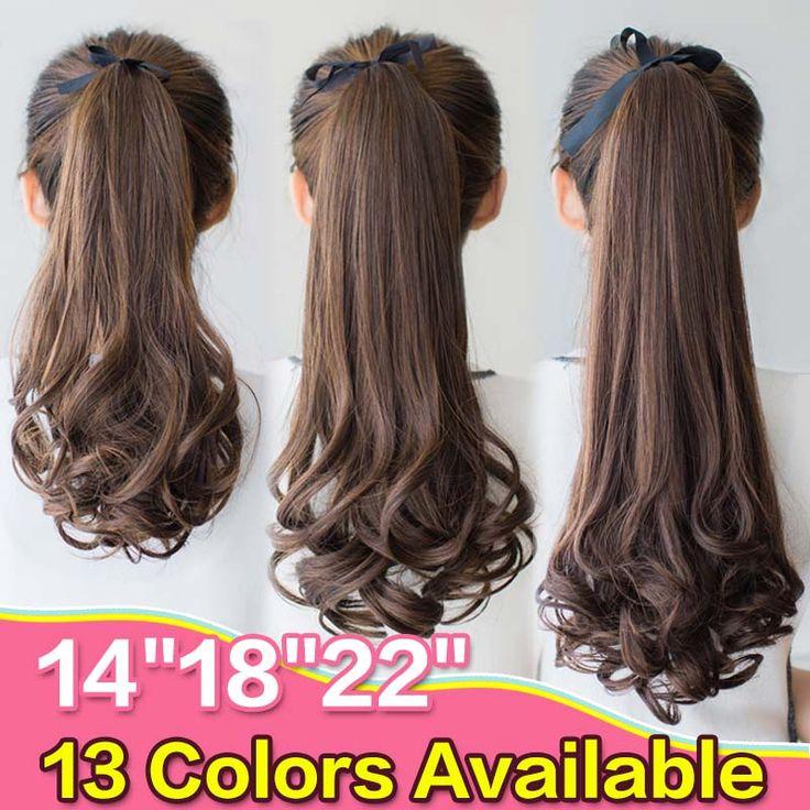 Nep Haar Paardenstaarten Krullend Synthetische Pony Tail Hittebestendige Lange Golvende Bruin Blond Clip Haarverlenging Voor Vrouwen Paardenstaart