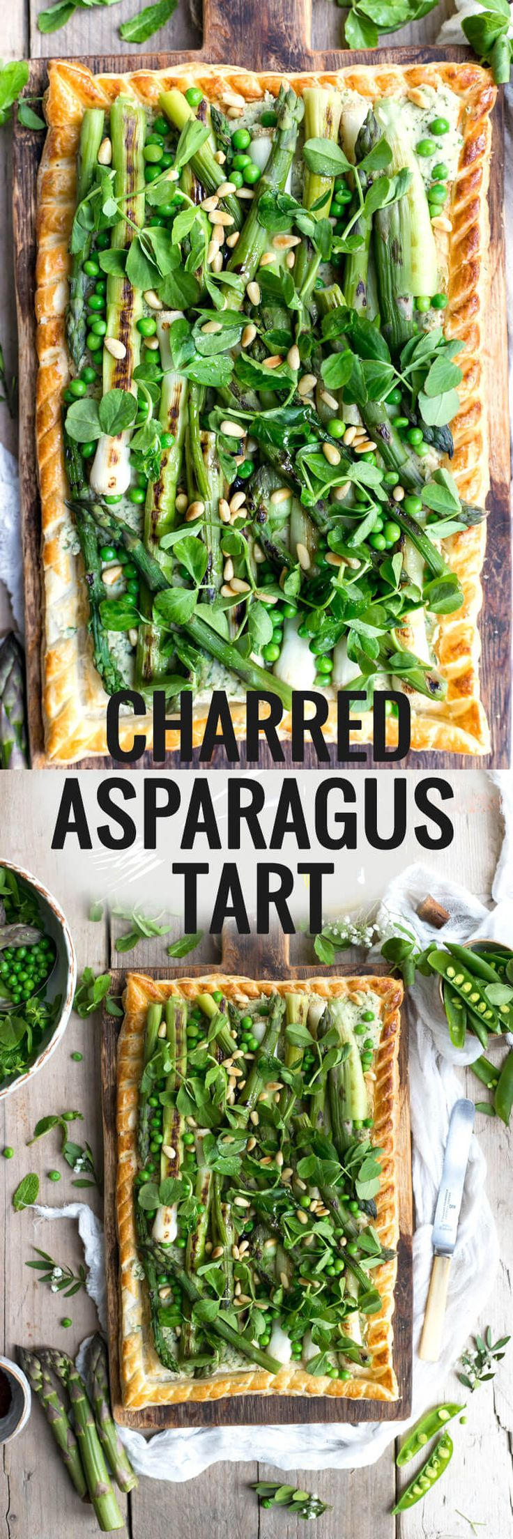 Charred Asparagus Tart with baby leeks, pea shoots and butter bean paste | via @annabanana.co