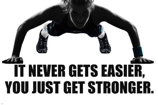 FITNESS MESSAGE PUSH-UP poster TOUGH GIRL ATTITUDE work out stronger 24X36