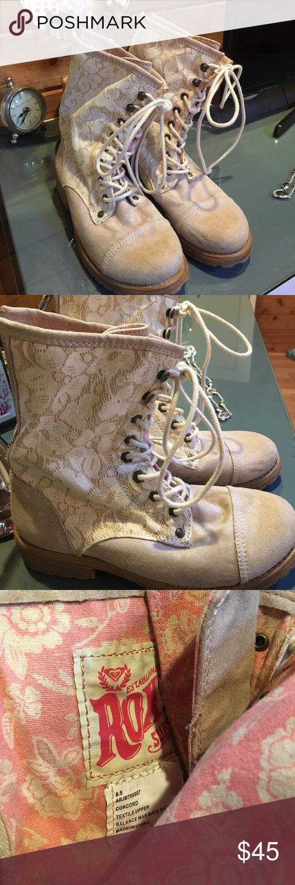 Roxy Lace Combat Boots Roxy white lace combat boot. Laces up front and zipper in back. Worn twice only. True to size. Excellent condition. One small mark shown in photo. Otherwise perfect. Reasonable offers considered. Roxy Shoes Combat & Moto Boots