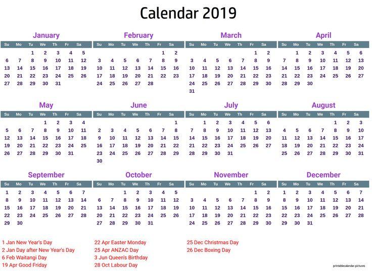 2019 Calendar Printable With Holidays 2019 Calendar Holidays