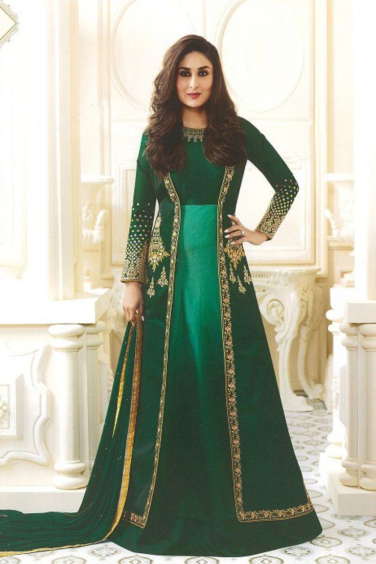 Bollywood Actress Saree Collections: Kareena Kapoor Dark ...  |Kareena In Green Anarkali Dress