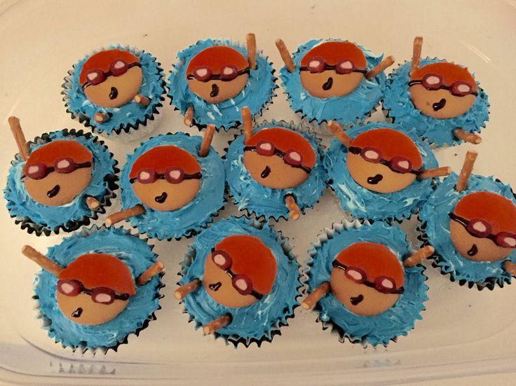 Swim team cup cakes