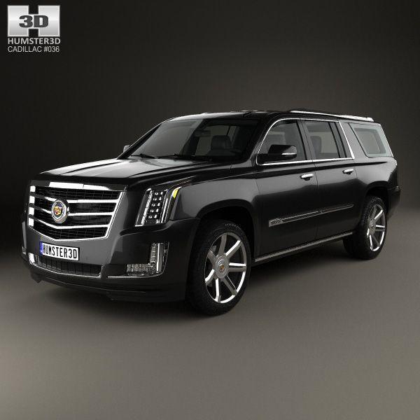 Cadillac Escalade ESV Platinum 2015 3d model from humster3d.com