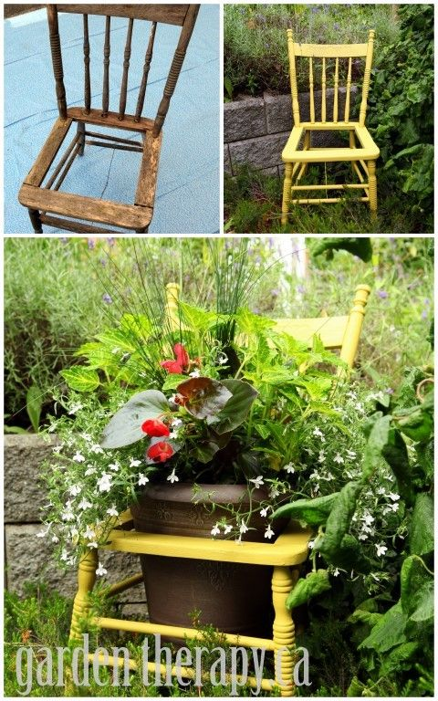 Recycled Chair Planter Project Before and After via garden therapy