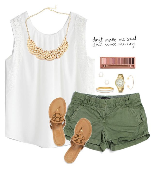 """""""Going shopping w/ my dad for once """" by madelyn-abigail ❤ liked on Polyvore featuring Chicwish, J.Crew, Kate Spade, Kendra Scott, Tory Burch and Urban Decay"""