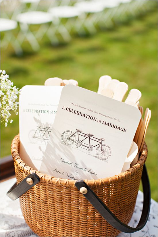 bicycle wedding program www.themodernjewishwedding.com