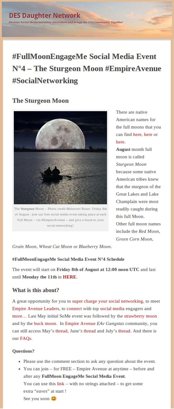 #FullMoonEngageMe Social Media Event N°4 – The Sturgeon Moon #EmpireAvenue #SocialNetworking by DES DAUGHTER #empireavenue http://desdaughter.wordpress.com/2014/07/25/full-moon-engage-me-social-media-event-sturgeon-moon/