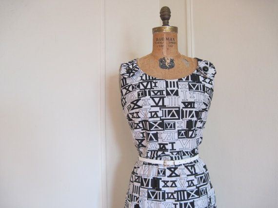 ROMAN NUMERALS  vintage mod 1960s Black and White by FASHIONRERUN, $124.00