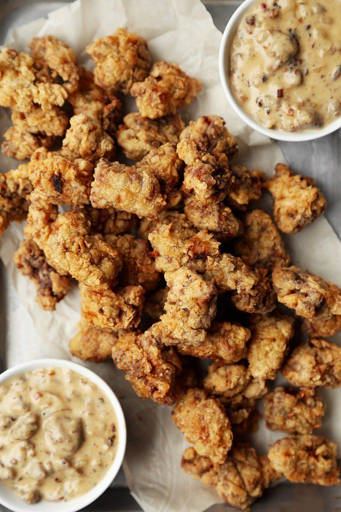 Popcorn Chicken Fried Steak -- husband approved. Used a deep fryer at 350 for 4 minutes. Sticks to basket (maybe freeze for a while after breading?) Reheated the next day using the air fryer at 350 about 8 minutes. Might be good to make a ton and freeze?