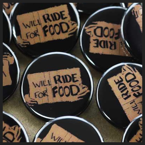 Fundraising buttons for a charity motorcycle ride in support of Eden Community Food Bank in western Mississauga, Ontario.