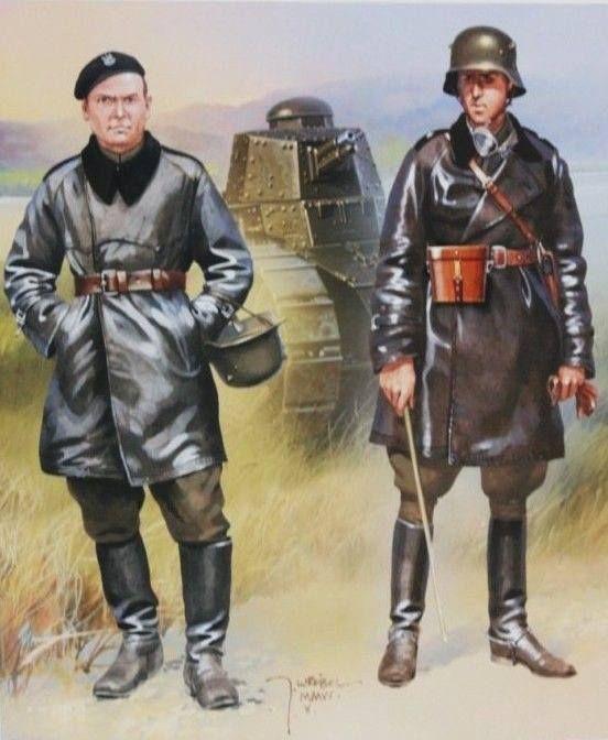 Wojsko Polskie Wojna Obronna 1939 1. Szeregowiec & oficer, 10 Brygada Kawalerii Zmotoryzowanej, w tle czołg Renault-17. Małopolska, wrzesień 1939 r. Rys. Jarosław Wróbel. https://www.facebook.com/wojskopolskie19391945/photos/a.376644045867274.1073741828.376641135867565/377096092488736/?type=1