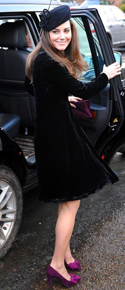 Just two months after announcing her engagement to Prince William, Catherine feted the marriage of Louise Stourton Aldborough and Harry Aubrey-Fletcher in a Libelula velvet dress, black pillbox hat, and purple pumps with bow accents.