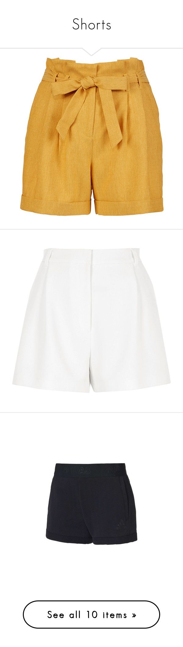 """Shorts"" by kkarolinas ❤ liked on Polyvore featuring shorts, bottoms, basic tshirt, basic tee shirts, tailored shorts, paperbag shorts, basic t shirt, beige, hot short shorts and short cotton shorts"