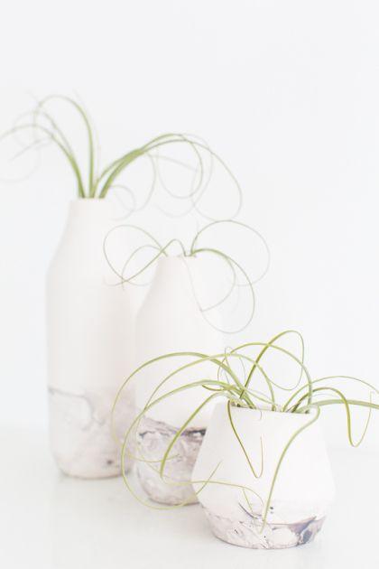 DIY marble dipped vessels -- sugar & cloth