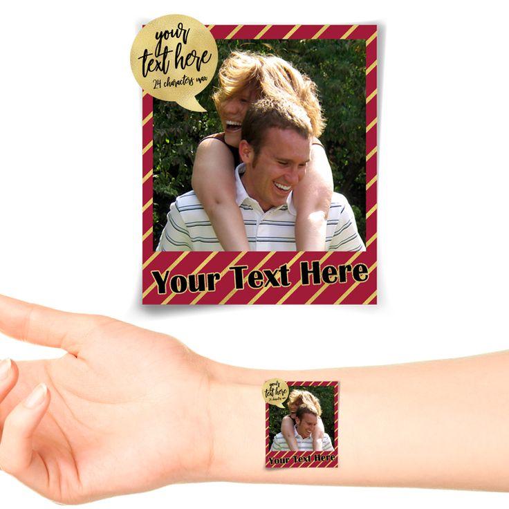 Stripes Polaroid Photo Personalised Tattoo #1180 (20 pack)