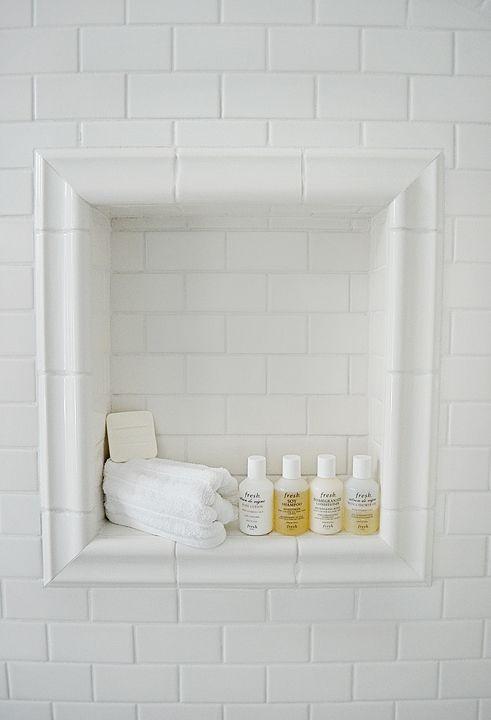 shower niche - white subway tile and chair rail trim