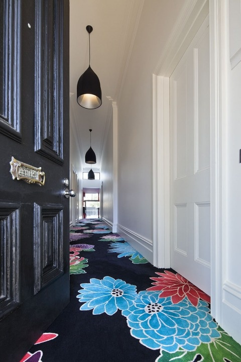 Cloud House - striking hallway carpet