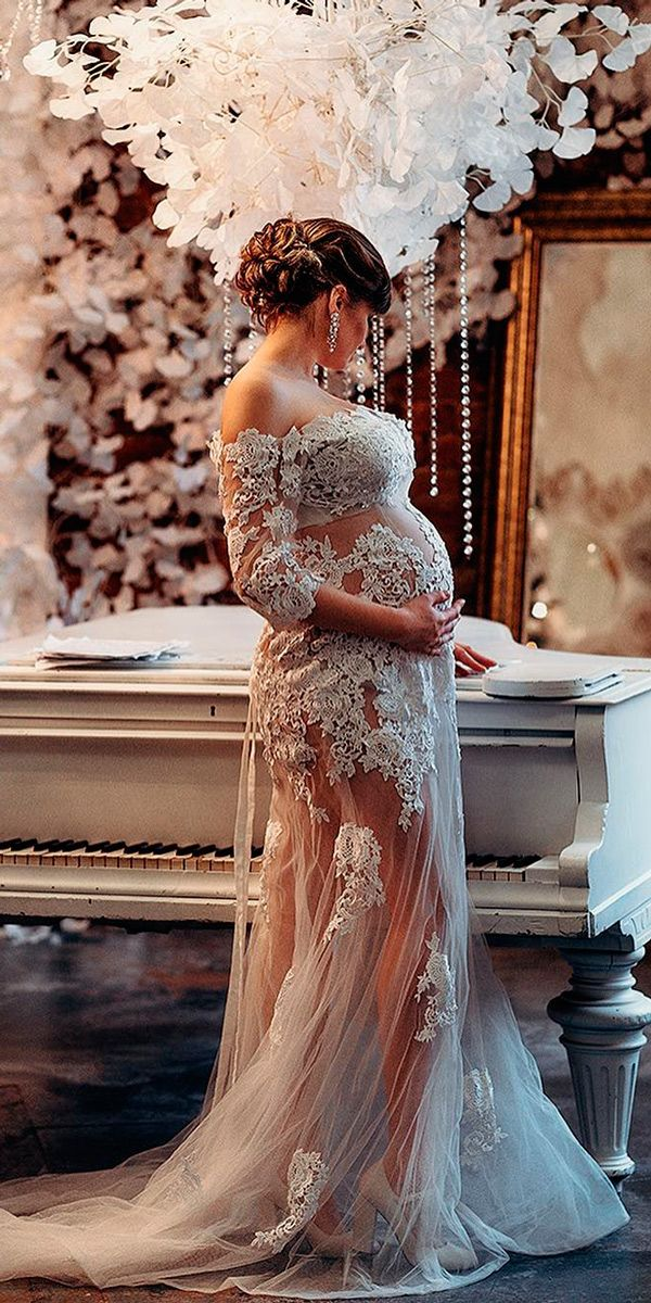 21 Maternity Wedding Dresses For Moms-To-Be ❤ maternity wedding dresses lace flowy straight off the shoulder long sleeves tulle xeniabors ❤ See more: http://www.weddingforward.com/maternity-wedding-dresses/ #weddingforward #wedding #bride