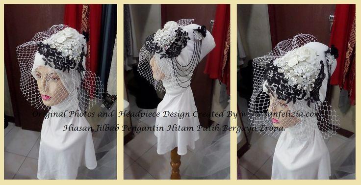 """Hiasan Jilbab atau Hijab pengantin bergaya vintage Eropa dengan batu-batu, kristal, bunga-bunga handmade dan aksen tulle berjaring besar, head accessories dengan gaya ini dikenal dengan sebutan """"birdcage veil"""".  """"birdcage veil"""" dapat memberikan kesan """"ladylike"""" pada si pemakai.. (Price by request) #hijab #pengantin #jilbab #wedding #birdcage #veil #headpiece #bride"""