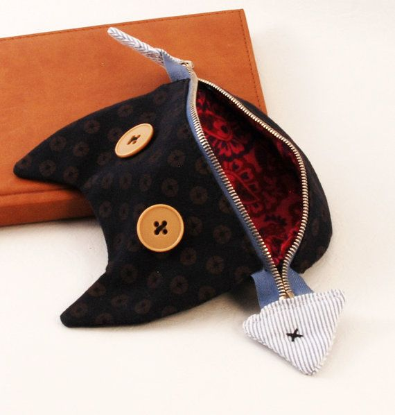 Cat with fish zipper pouch -Crazy cat shaped pouch. Gift for cat lovers!