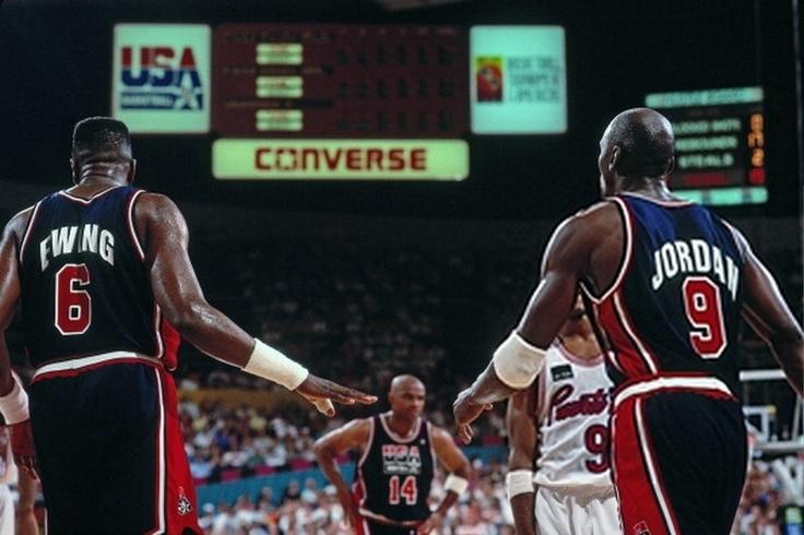 Ewing/Jordan. Dream team, Nba tv, Nba pictures