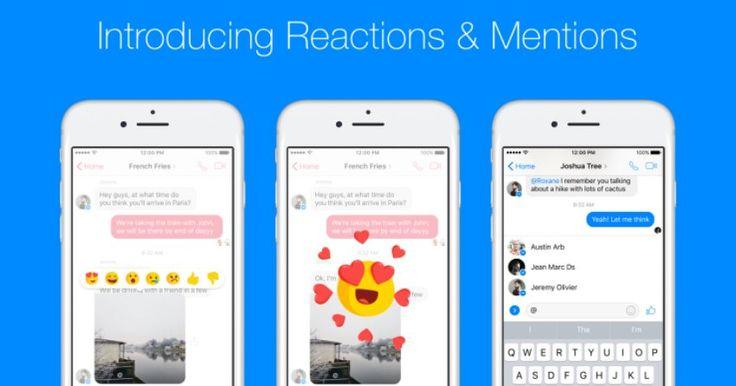 Facebook: έρχονται Reactions και Mentions στο Messenger - https://wp.me/p3DBOw-Erm - Το Facebook μόλις ανακοίνωσε ότι θα διαθέσει δύο νέα χαρακτηριστικά στην εφαρμογή του Messenger για Android και iOS. Τα χαρακτηριστικά αυτά έχουν ήδη αρχίσει να εμφανίζονται σε χρήστες Messenger από όλο τον κόσμο.  Οι αντιδράσ