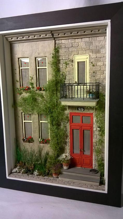Casa de muñecas, miniatura Diorama de casa, arte, escultura de pared de Shadowbox