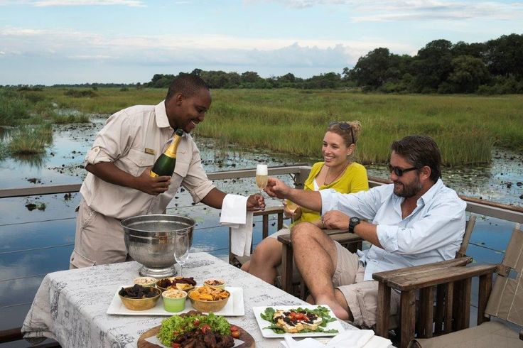 On the top deck of the barge at Kings Pool in Botswana, a feast for all of the senses!