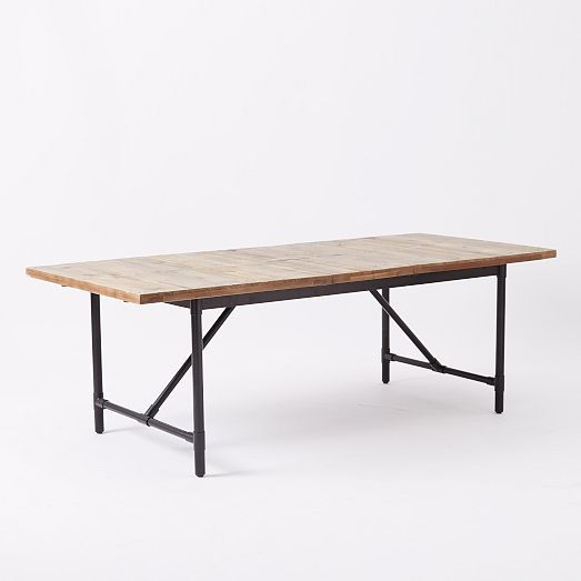 """TABLE - expandable to 93"""" but normally at 73.. Emmerson Industrial Expandable Dining Table 